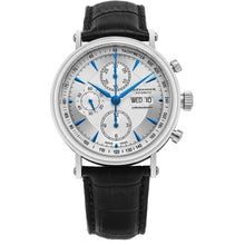 Load image into Gallery viewer, Alexander Mens Automatic Chronograph Watch with Stainless Steel Case on Black leather strap, Silver Dial