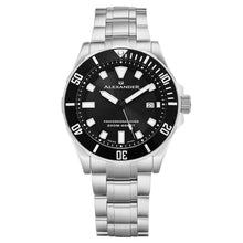 Load image into Gallery viewer, Alexander Vathos Swiss Quartz Black Dial Silver Tone Bracelet Men's Diver Watch