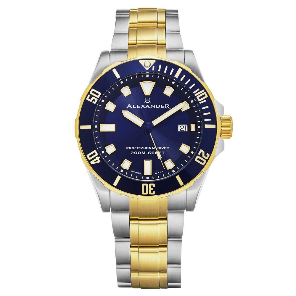 Alexander Vathos Quartz Blue Dial Two Tone Bracelet Men's Diver Watch