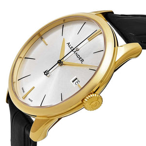Alexander Sophisticate Swiss Quartz Gold Tone Case Leather Strap Men's Watch