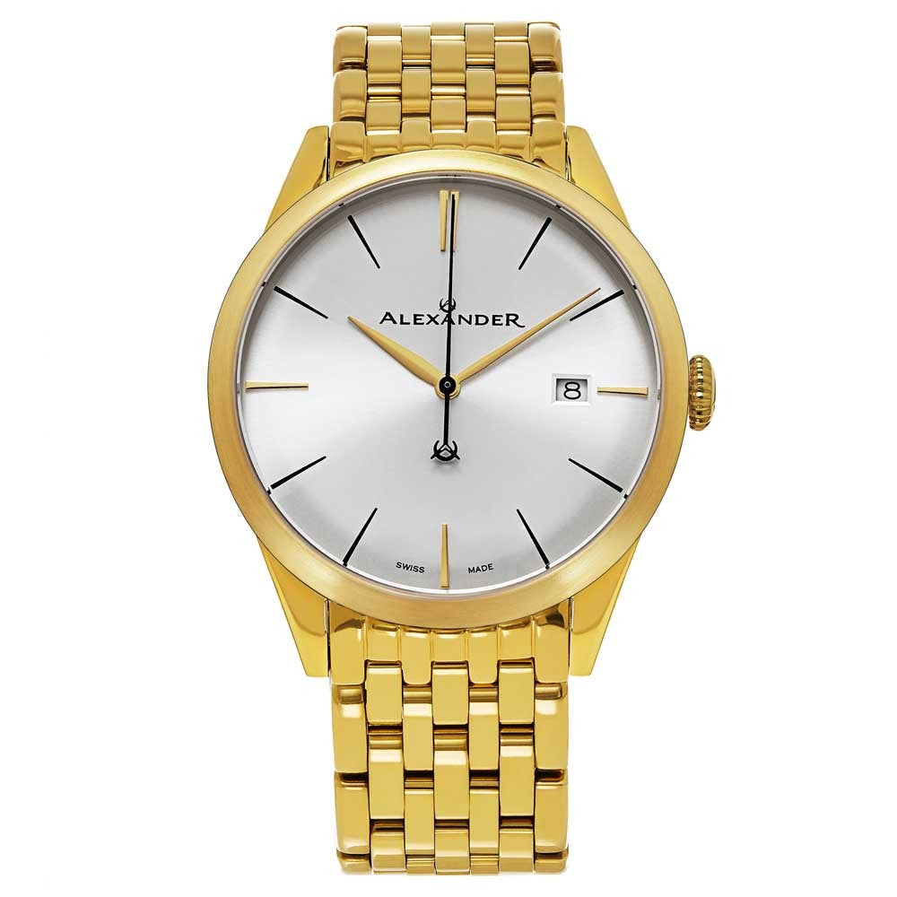Alexander Sophisticate Swiss Quartz Gold Tone Bracelet Men's Watch