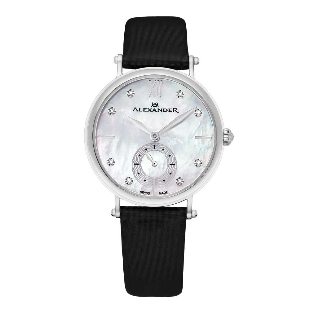 Alexander Roxana Diamond White Mother of Pearl Silver Tone Case Women's Watch