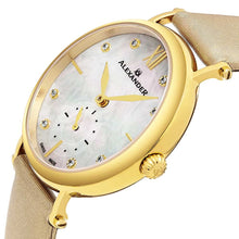 Load image into Gallery viewer, Alexander Roxana Diamond White Mother of Pearl Dial Gold Tone Case Women's Watch