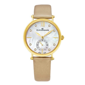 Alexander Roxana Diamond White Mother of Pearl Dial Gold Tone Case Women's Watch