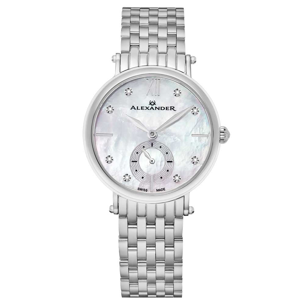 Alexander Roxana Diamond White Mother of Pearl Dial Silver Tone Women's Watch