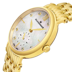 Alexander Roxana Diamond White Mother of Pearl Dial Gold Tone Women's Watch
