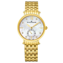 Load image into Gallery viewer, Alexander Roxana Diamond White Mother of Pearl Dial Gold Tone Women's Watch