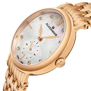Alexander Roxana Diamond White Mother of Pearl Dial Rose Gold Tone Women's Watch