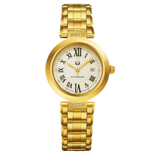 Alexander Niki Diamond Swiss Quartz 3-Hand Date Gold Tone Women's Watch