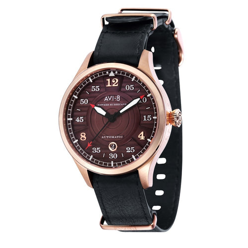 AVI-8 Hawker Hurricane Automatic Rose Tone Brown Dial Genuine Leather Nato Strap Men's Watch