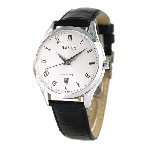 Balmain Men's Classic R Grande White Dial Leather Strap Automatic Watch
