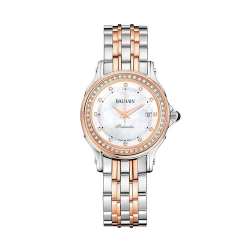 Balmain Women's Eria Round Mother-of-Pearl Dial Dual Tone Stainless Steel Diamond Automatic Watch