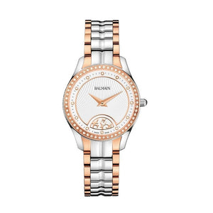 Balmain Women's Balmain Maestria Mini Round Arabesque Dial Dual Tone Stainless Steel Diamond Quartz Watch