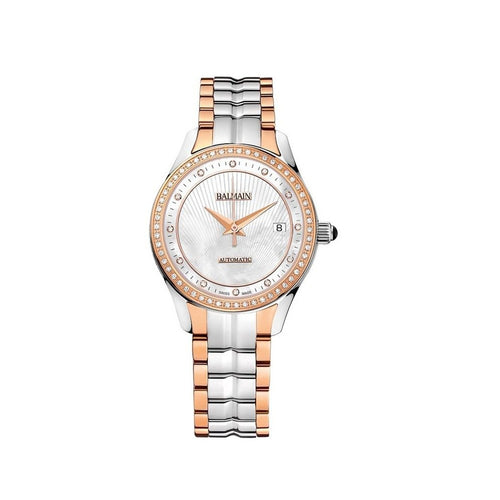 Balmain Women's Balmain Maestria Round Mother-of-Pearl Dial Dual Tone Stainless Steel Diamond Automatic Watch