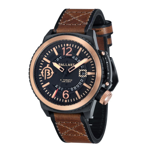 Ballast Trafalgar Automatic Black Dial Brown Leather Strap Men's Watch