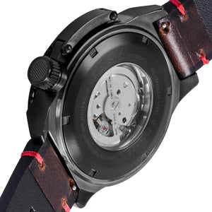 Ballast Trafalgar Automatic Black Dial Red Stitching Men's Watch