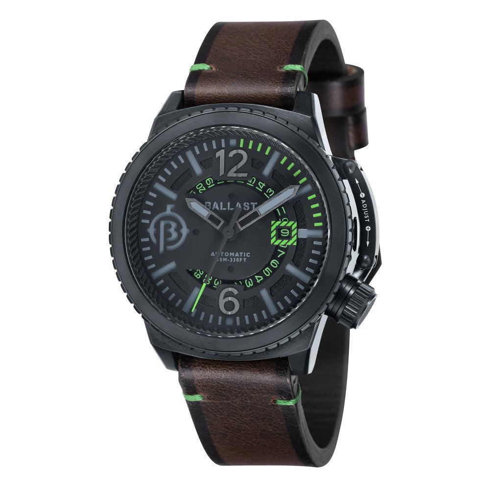 Ballast Trafalgar Automatic Black Dial Green Stitching Men's Watch