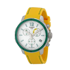 Tissot Men's Quickster Yellow Rubber White Dial Watch