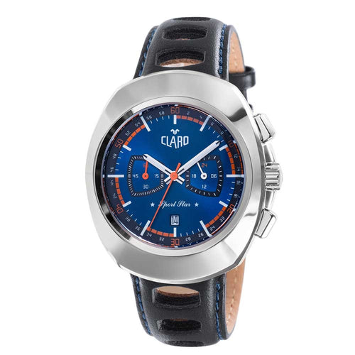 Claro Men's Sports Star Blue Dial Quartz Chronograph Watch