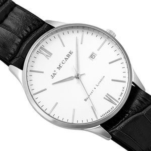 James-McCabe London Slim Swiss Quartz Silver Dial Leather Nato Strap Men's Watch