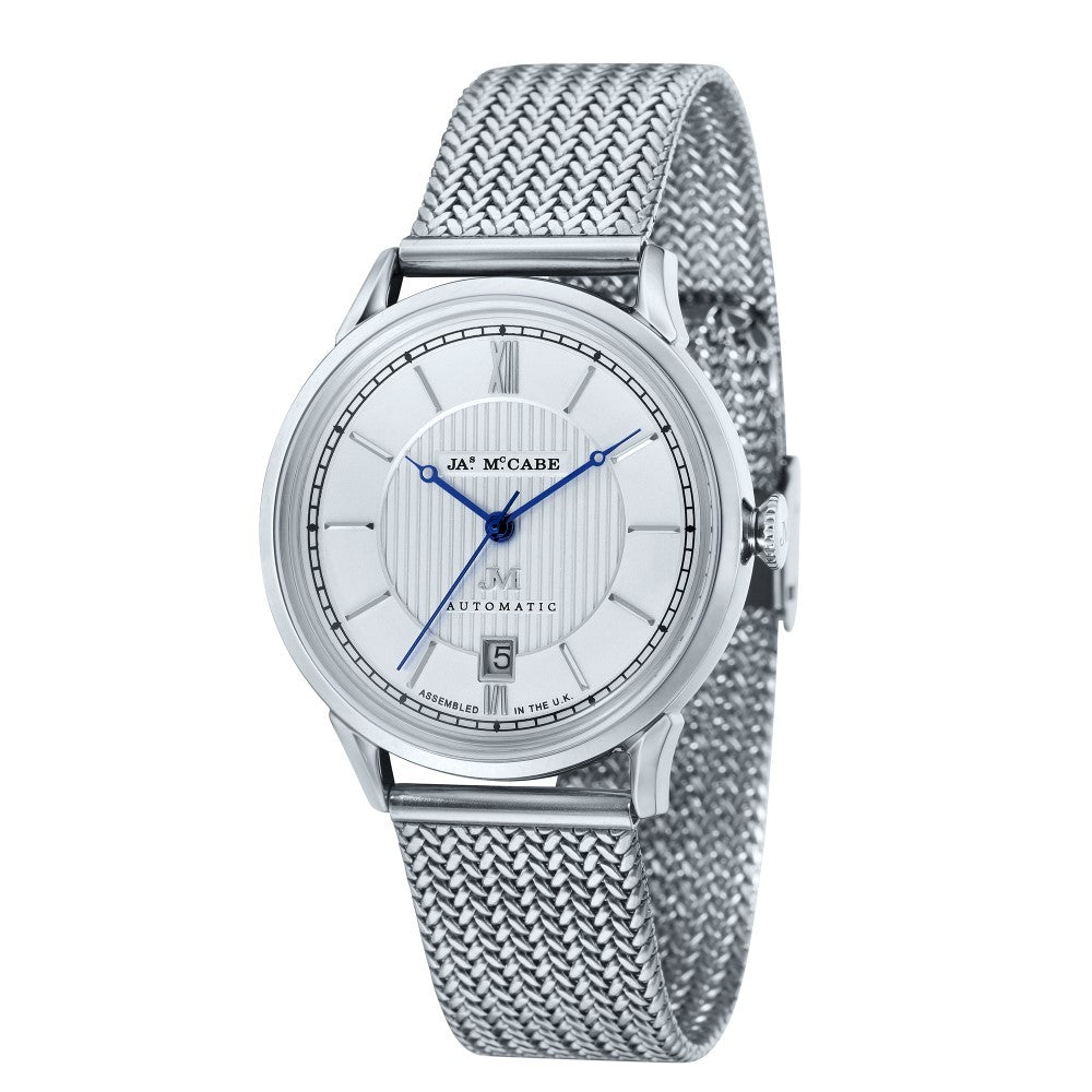 James-McCabe Heritage Automatic II Silver Dial Stainless Steel Bracelet Men's Watch