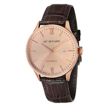 Load image into Gallery viewer, James-McCabe London Automatic Rose Tone Dial Leather Strap Men's Watch