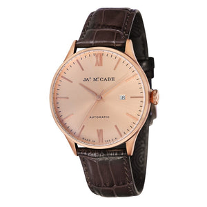 James-McCabe London Automatic Rose Tone Dial Leather Strap Men's Watch