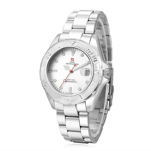 Swiss-Mountaineer Men's Abeni Flue White Dial Quartz Watch