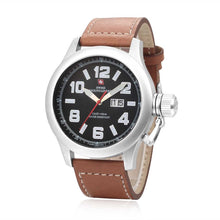 Load image into Gallery viewer, Swiss-Mountaineer Men's Hugihorn Brown Strap Black Dial Quartz Watch
