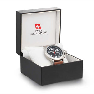 Swiss-Mountaineer Men's Hugihorn Brown Strap Black Dial Quartz Watch