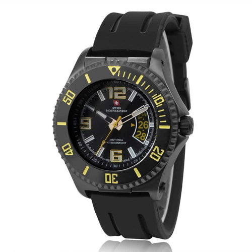 Swiss-Mountaineer Men's Jakobshorn Yellow Date Quartz Watch