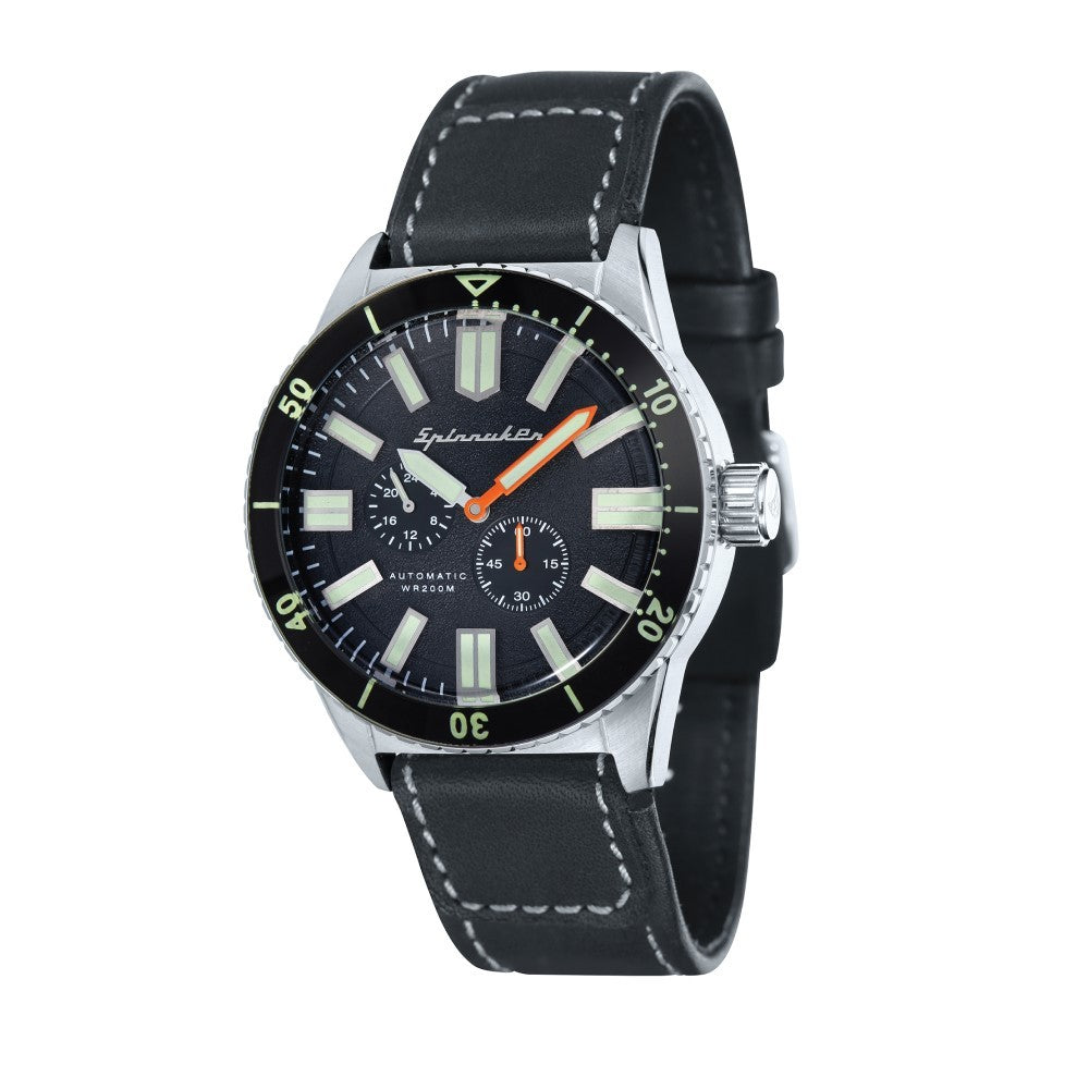 Spinnaker Hass Automatic Black Dial Leather Strap Men's Watch