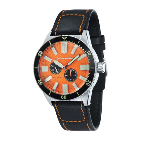Spinnaker Hass Automatic Orange Dial Leather Strap Men's Watch