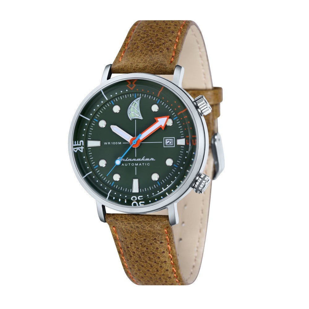 Spinnaker Tavolara Automatic Green Dial Leather Strap and Nato Strap Men's Watch