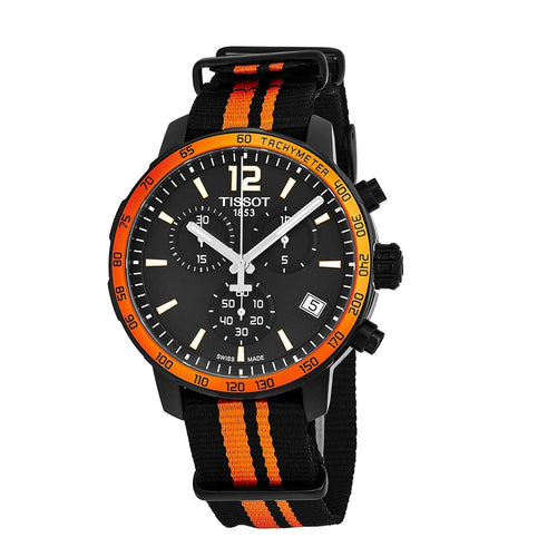Tissot Men's Quickster Black Dial Black and Orange Synthetic Nylon Chronograph Watch