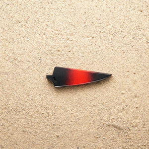 Red and black wood saya knife sheath for Town Cutler Baja paring knife.