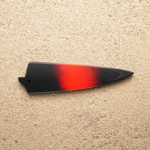 "Black and red wood saya knife sheath for Town Cutler Baja 7"" chef knife."