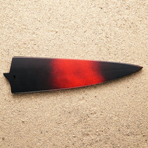 "Black and red wood saya knife sheath for Town Cutler Baja 8.5"" chef knife."