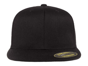Flexfit 210 Flat Bill Fitted Hat in Black