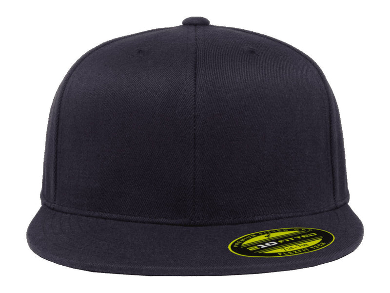 Flexfit 210 Flat Bill Fitted Hat in Navy Blue