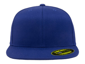 Flexfit 210 Flat Bill Fitted Hat in Royal Blue