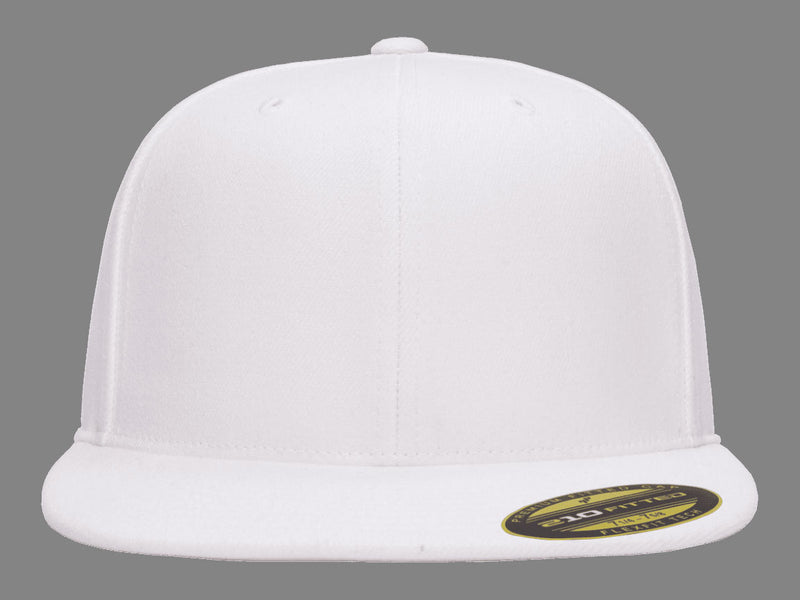 Flexfit 210 Flat Bill Fitted Hat in White