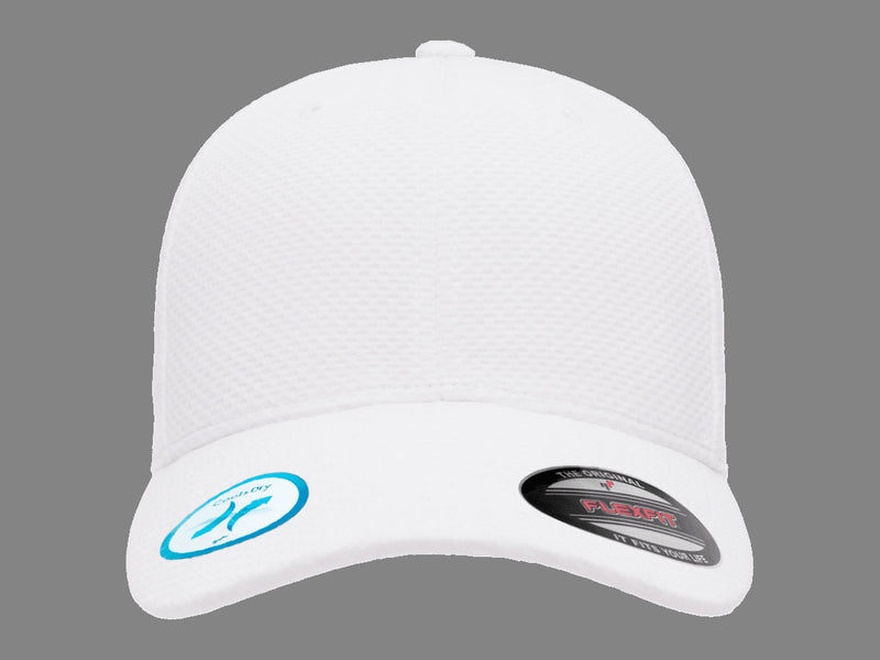 Flexfit 6584 Cool & Dry 3D Hexagon Jersey Hat in White