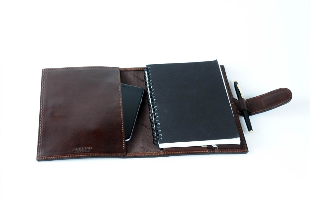 Soft Leather Notebook with Tablet Sleeve