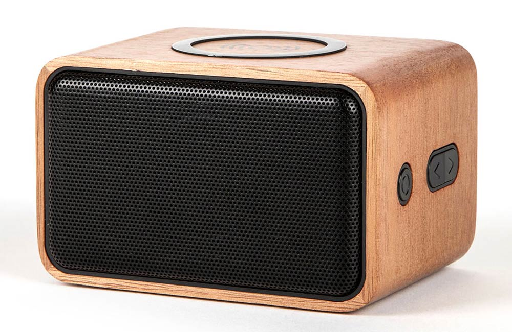Wooden Bluetooth Speaker with Built-In Wireless Charger