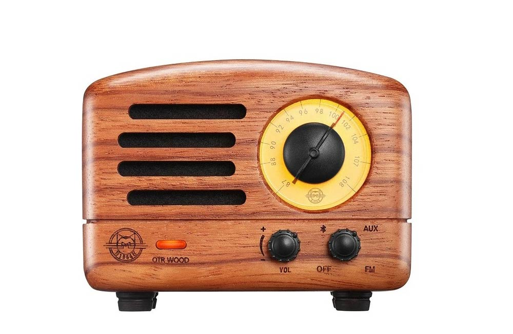 Retro Rosewood Muzen OTR Portable FM Radio Bluetooth Speaker
