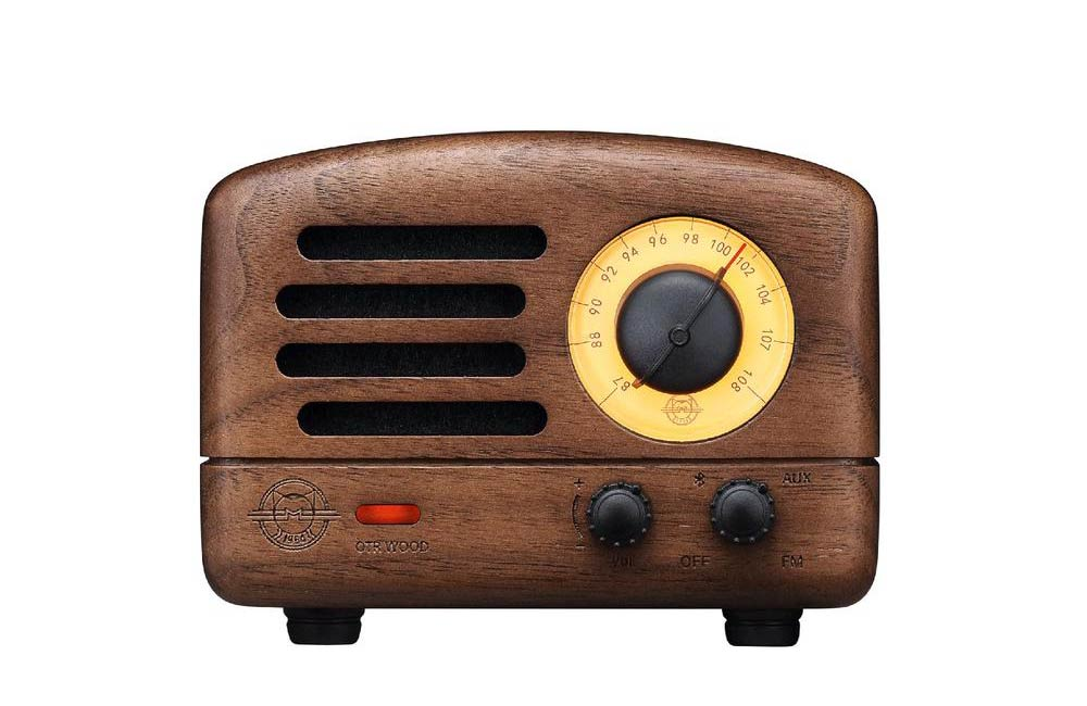 Retro Walnut Wood Muzen OTR Portable FM Radio Bluetooth Speaker