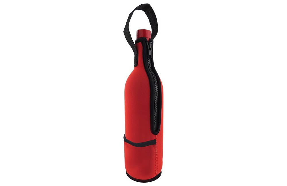 Red Zipper Neoprene Wine Sleeve