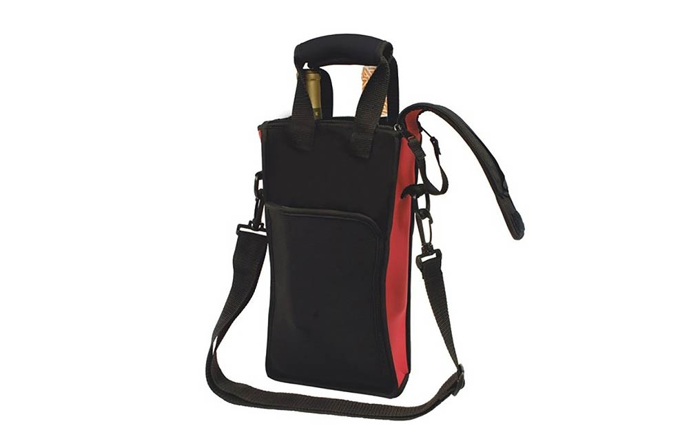 Red and Black Double Wine Bottle Carrier Bag