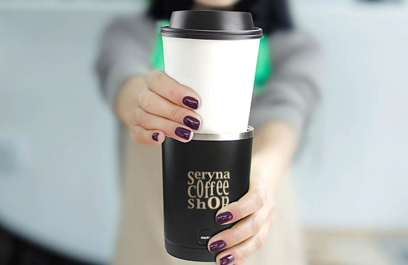 Woman Holding Coffee Cup and Sleeve with Custom Engraved Company Logo